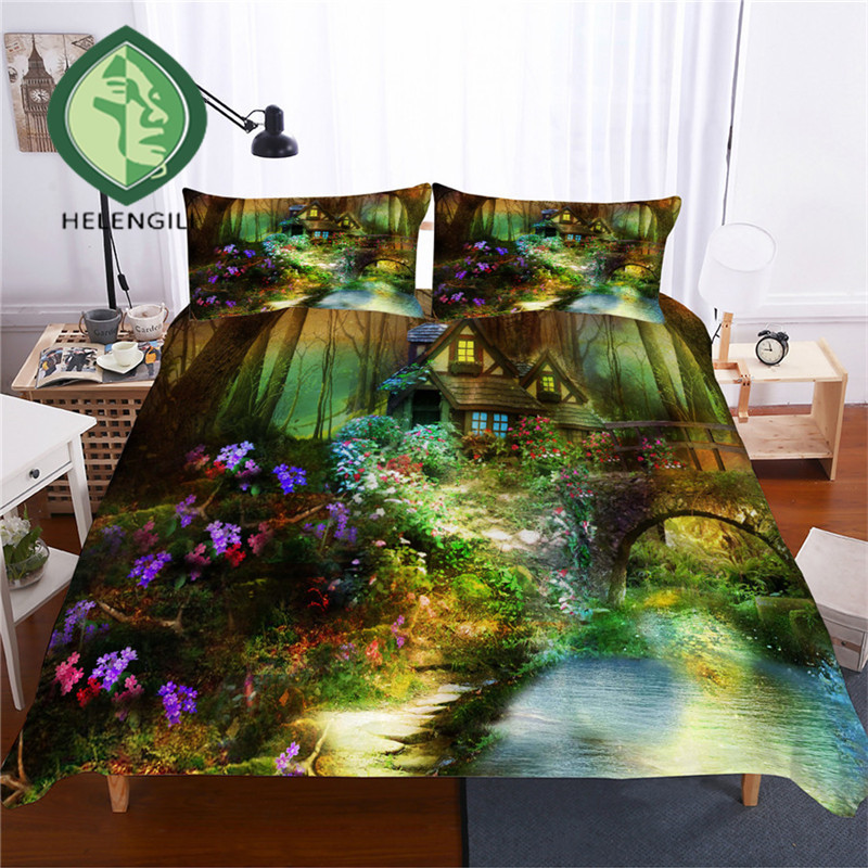 HELENGILI 3D Bedding Set Forest Dreamland Print Duvet Cover Set Bedclothes with Pillowcase Bed Set Home Textiles #MJSL-43