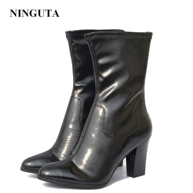 Ninguta Обувь на высоком каблуке Женские ботинки для весны Осенняя мода Швейные Дамская обувь