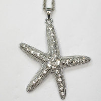 12pcs/lot Wholesale Rhinestone Starfish Fashion Pendant Necklaces Costume Chain Jewelry F101401