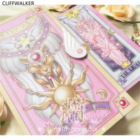 Cardcaptor Sakura Pink Red Pink Color 52 Piece Clow Cards+Book SET+The Nothing Card Tarot Cards Accessories Props New