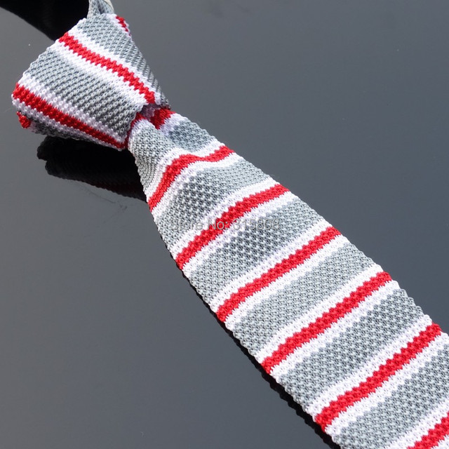 Knitted Ties neck Tie Men's necktie Solid Grey red white striped  high quality 23#