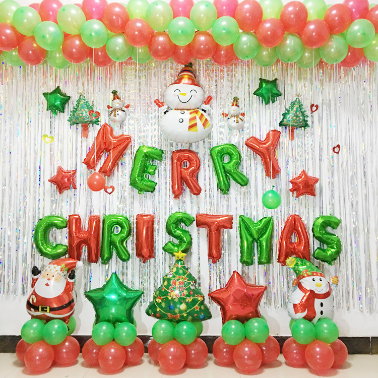 Foil Baloon Red Green Latex Ballon Christmas Party ...