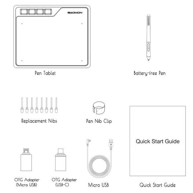 GAOMON S620 6.5x4 cale 8192 poziom baterii-darmowy długopis wsparcie Android Windows Mac cyfrowy tablet graficzny do rysowania i gry OSU