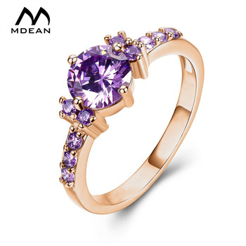 MDEAN Rose Gold Color Ring Purple Stone AAA Zircon Jewelry for Women Engagement Wedding bague bijoux Size 5 6 7 8 9 10 11 12H083