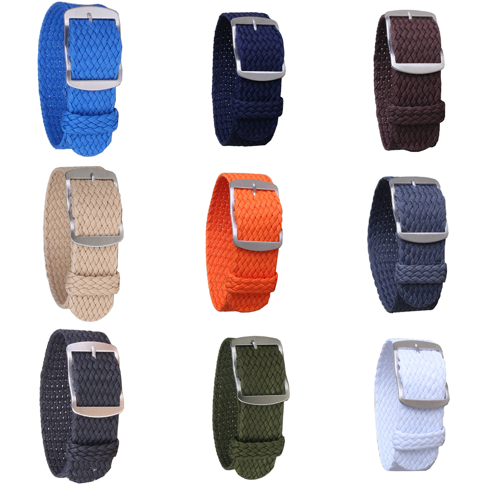 16mm 18mm 20mm 22mm Solid color Perlon Woven Nylon watchbands bracelet fabric Woven Watch Strap Band Buckle belt black blue(China)