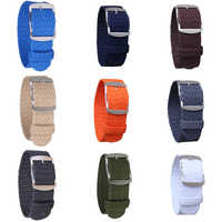 16mm 18mm 20mm 22mm Solid color Perlon Woven Nylon watchbands bracelet fabric Woven Watch Strap Band Buckle belt black blue