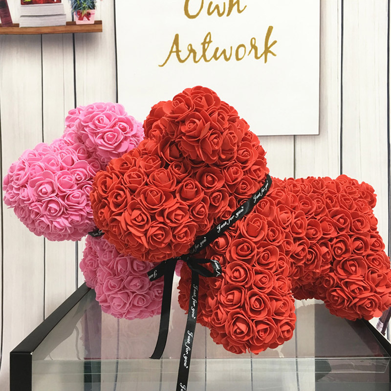 Wedding Gifts For Dog Lovers: 30X38cm Artificial Flower PE Rose Lucky Dog For Wedding