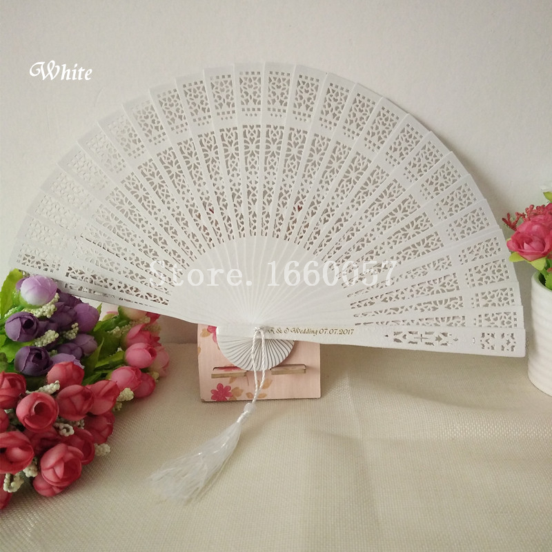 50pcs Wedding Favor Gift Gold Silver White Personalize Sandalwood Hand Folding Fans Customized Name and Date