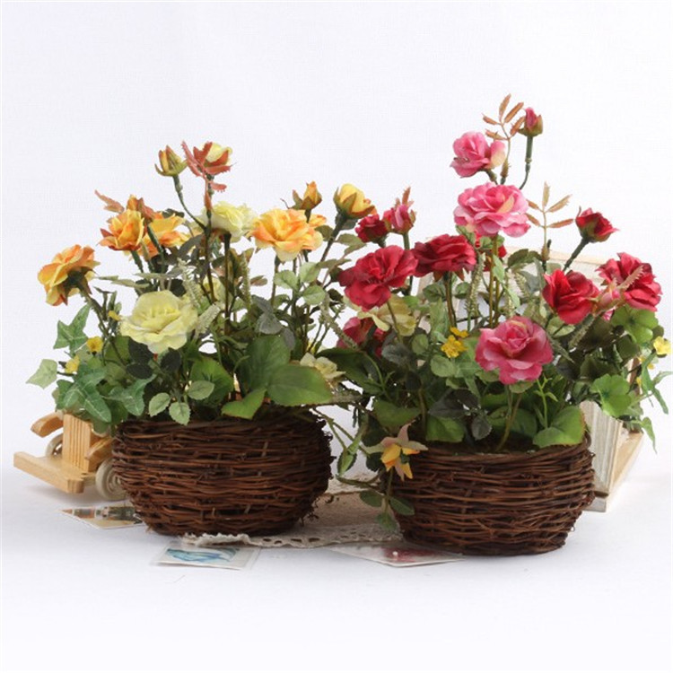 New arrival artificial flowers potted roses series rattan - Jarrones rusticos ...