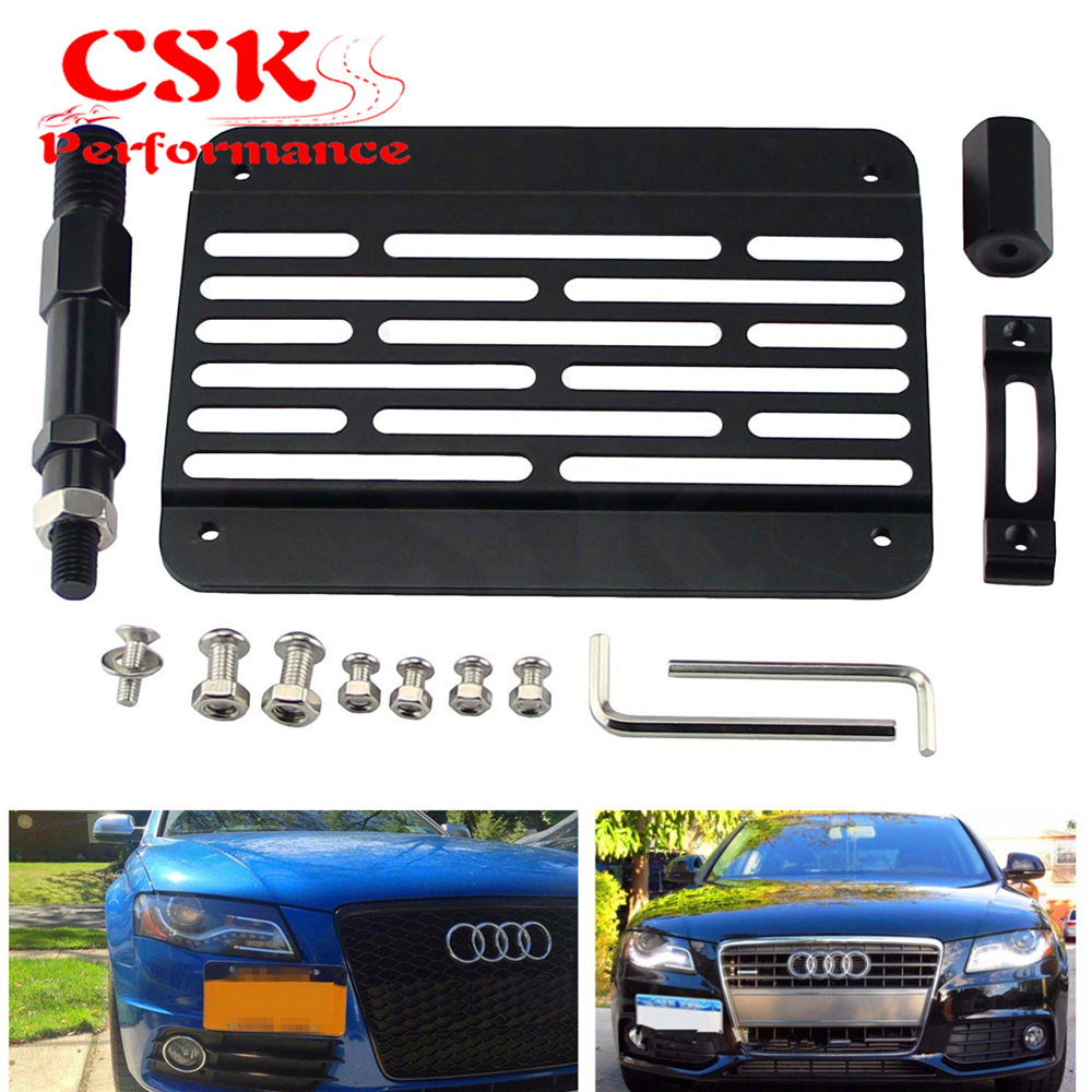 For 08-UP Audi R8 Front Bumper Tow Hook License Plate Mount Bracket Relocator