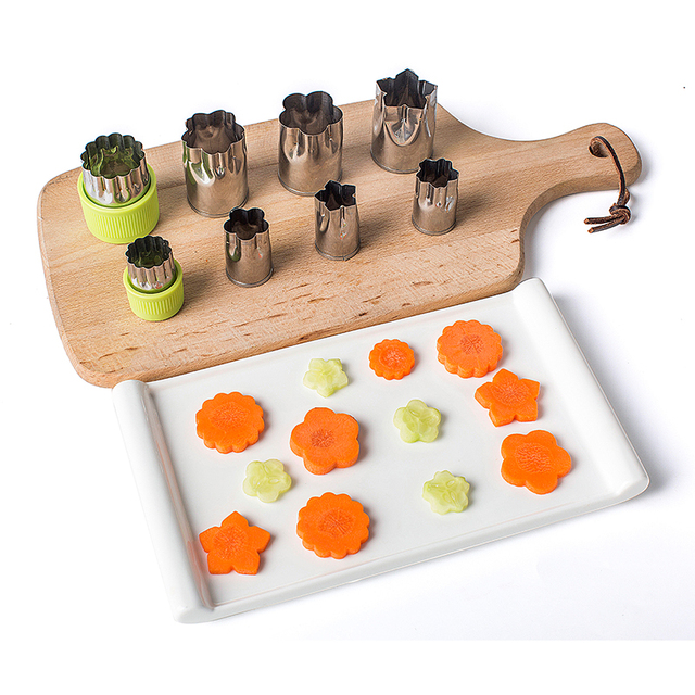 8pcs/Set Stainless Steel Puzzle Fruit Vegetable Cutter Kitchen Tools Mold Flower Shape Cookie Fondant Pastry Mould Accessories
