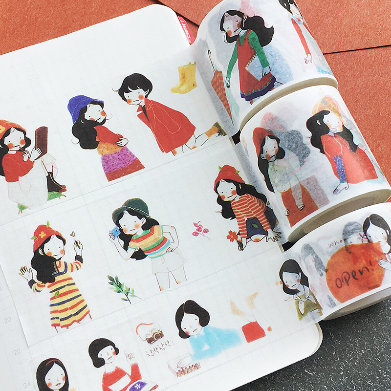Creative City Girl Washi Tape Scrapbooking Planner Tape Masking Kawaii Office Adhesive Tape Label Sticker Stationery JD38