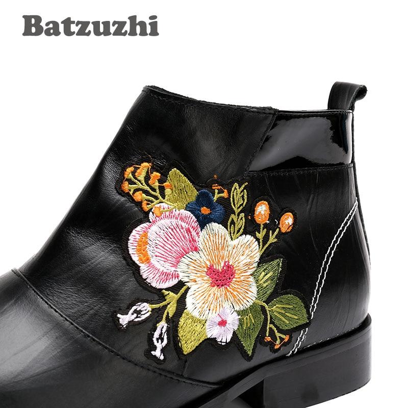 Cowboy salto Bota De Boate Homens Outono Flores Para Alto Alta Botas Bordado Preto Com Novos Ocidental Couro Batzuzhi txAZII