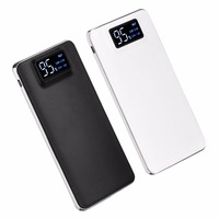 Ultra Thin Power Bank Large Capacity 20000mAh Double USB Digital LCD Display Battery LED Torch For