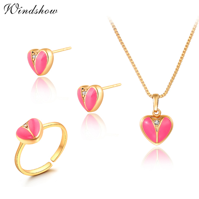 Gold Color Pink Peach Love Heart Cz Zircon Stud Earrings Ring Pendant Necklace Small Jewelry Sets