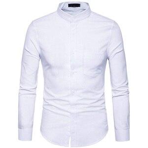 Image 3 - Рубашка мужская приталенная с воротником стойкой, х/б, 6XL