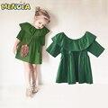 2017 primavera ropa de los niños del verano muchacha de la manera vestido tutu dress girls oído de madera Europa verde vestido de fiesta 1-4Y envío libre gratis