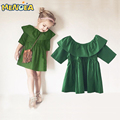 2017 spring summer children's clothes fashion girl vestido tutu dress girls wood ear Europe green party dress 1-4Y free shipping