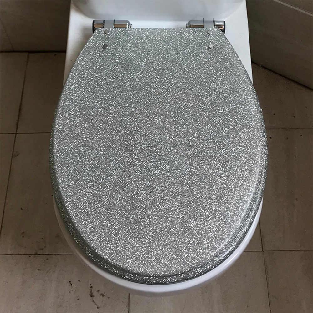 40*33CM wysokiej jakości brokatowe srebrne kolory stal nierdzewna zwolnij zawias żywiczny pokrowiec na deskę sedesową nadaje się do U, w kształcie litery V toaleta