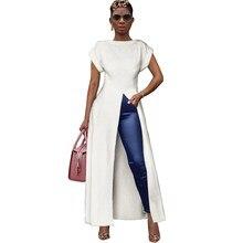 Summer Women Short Sleeve Maxi Dress Casual O Neck Dresses High Waist Long