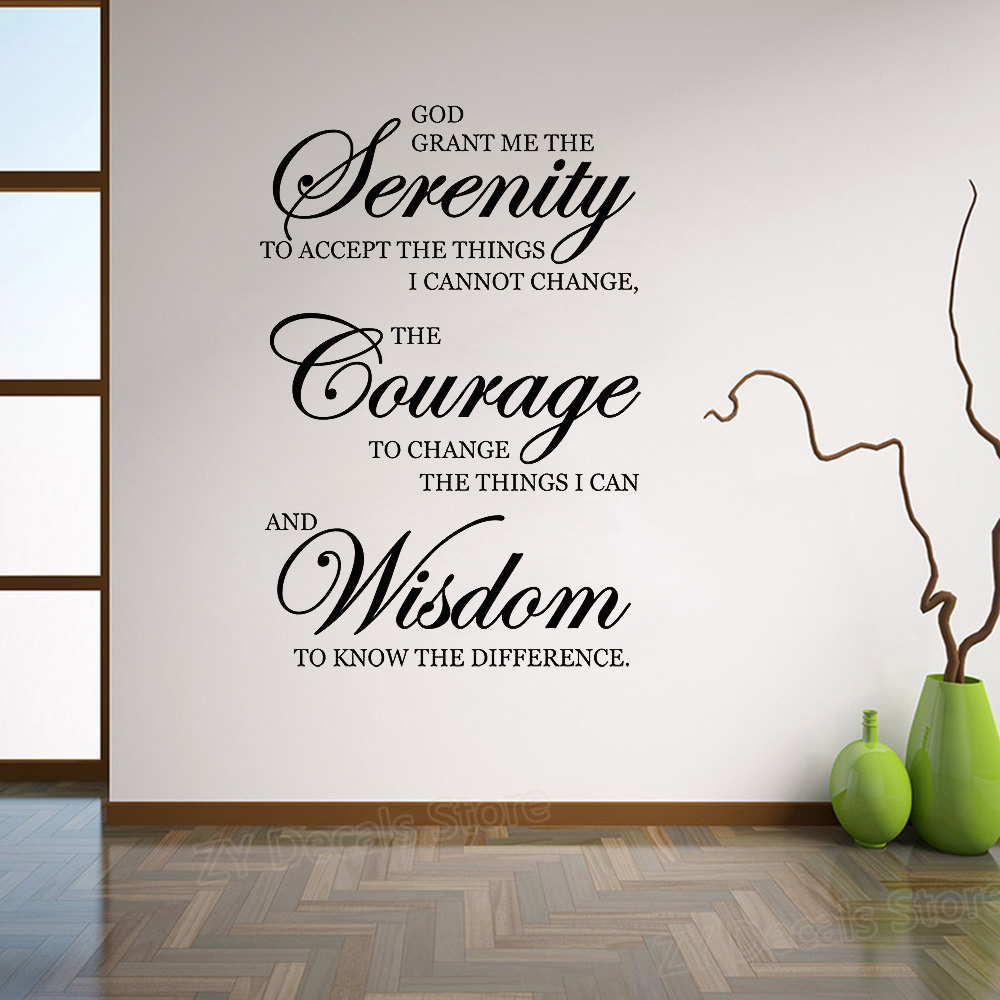 Inspirational Quotes Wall Stickers Home Decor Living Room Serenity Courage Wisdom Art Sayings Decal Murals Bedroom Z872