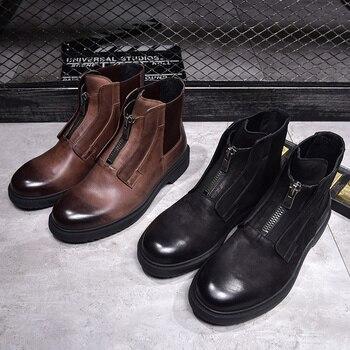efa348715 2018 cuero genuino de alta superior zapatos masculinos zapatos de cuero  Casual para hombres zapatos botas de invierno cremallera marrón hombres  botines