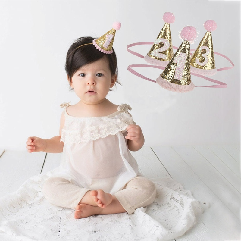 1pcs Baby Cute 1/2/3 Birthday Hat Dot With Hairball Baby Shower Birthday Photo Props Children Decor