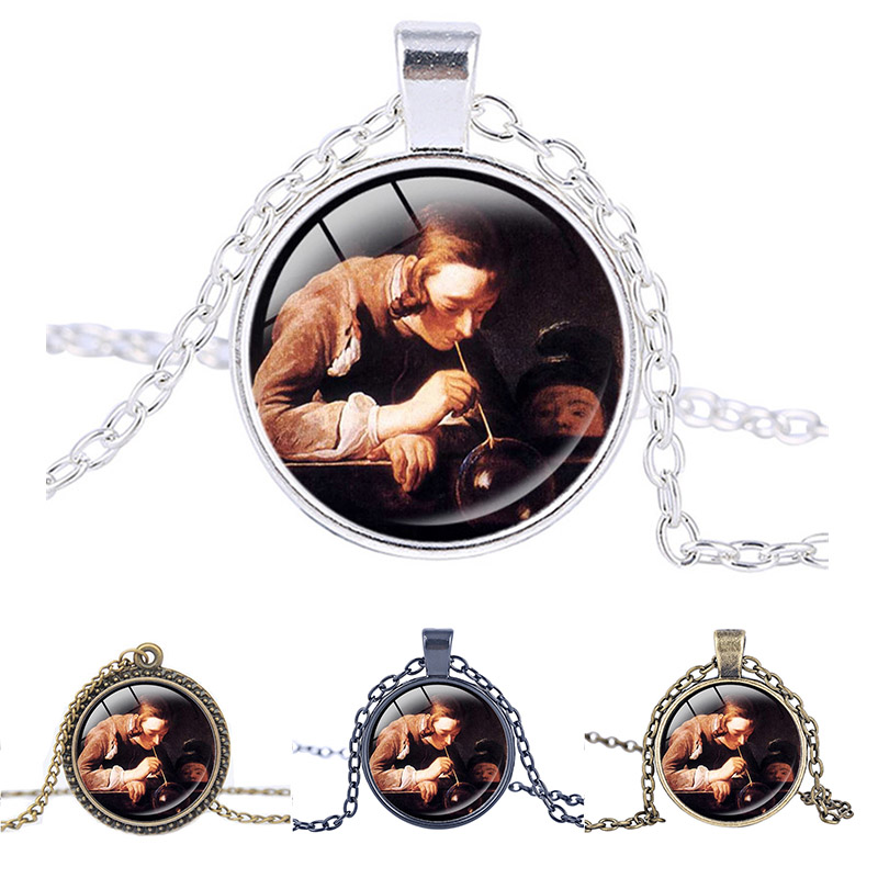 Oil on canvas Soap Bubbles necklace Chardin jewelry pendant glass cabochon statement necklace Presents for the children