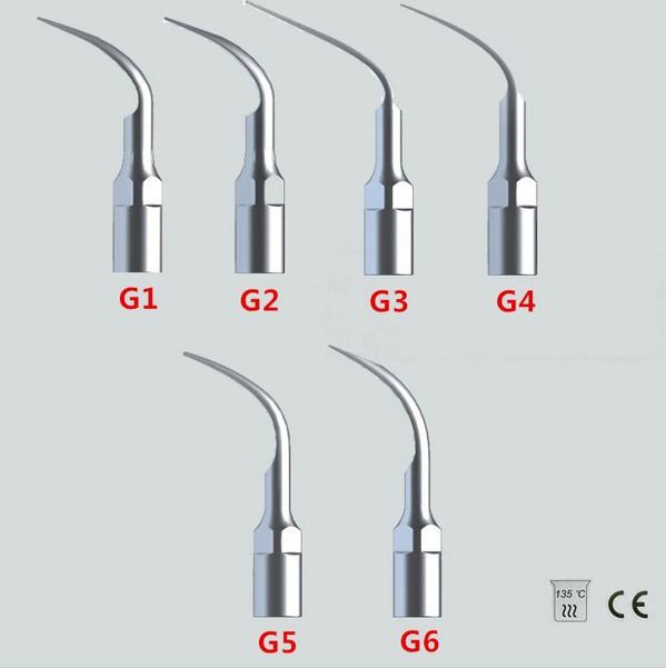무료 배송 6 X EMS 딱따구리 유형 치과 초음파 스케일러 팁 스케일링 G1 G2 G3 G4 G5 G6