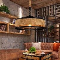 LED Loft pendant lamp vintage rope hemp chandelier living room restaurant bedroom pub club cafe light corridor office study lamp