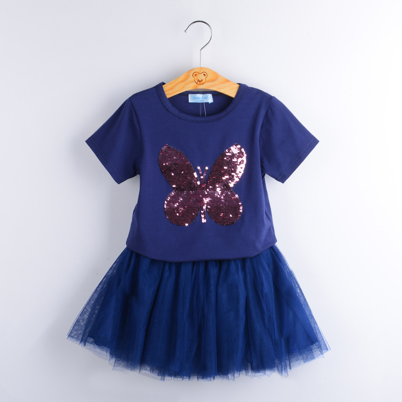 Sodawn Cute girl in blue T-shirt and blue skirt and rhinestone clothes for children set girl Autmn children's clothing retail design children clothing set for kids girl dark blue cardigan t shirt pink skirt high quality 2014 new free shipping