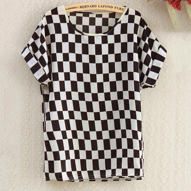 CHSDCSI Summer Blouse Print Tops Women Polyester Stripe  Short Sleeve Casual Shirts Love Blusas Ladies Shirt Chiffon Blouses 6