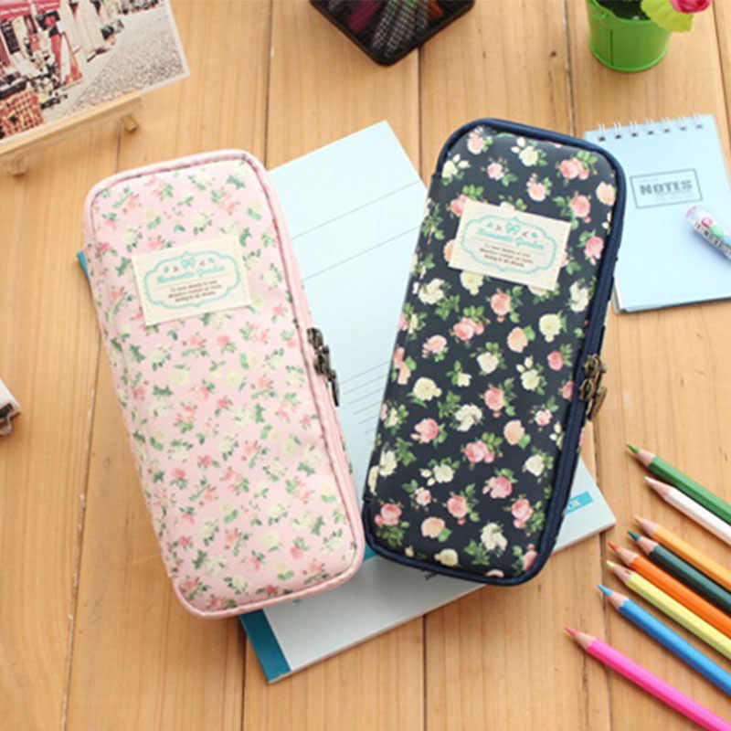 Vintage Large Capacity Canvas Pencil Case Waterproof Stationery School Supplies Pen Bag Flower Holder Girl Women Student Gift