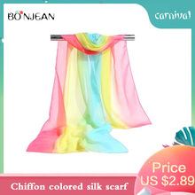 BONJEAN Summer Rainbow Ladies New Chiffon Color Silk Scarf Spring And Autumn Thin Section Wild Gradient Sunscreen