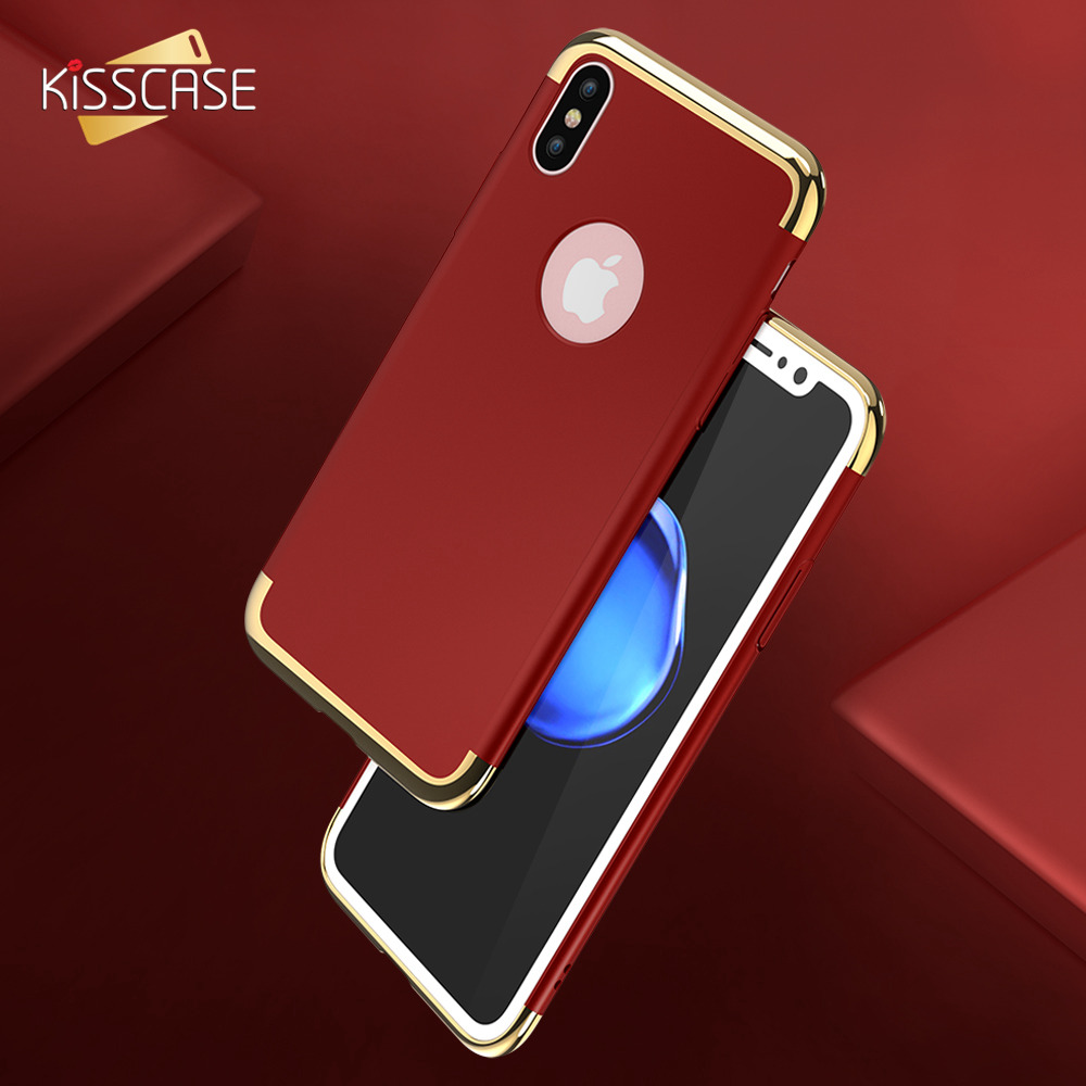 KISSCASE Plating 3 in 1 Phone Case For iPhone 6 6S Plus X Ten Cases Fashion Hard PC Phone Cover For iPhone 7 7 Plus 7Plus Fundas