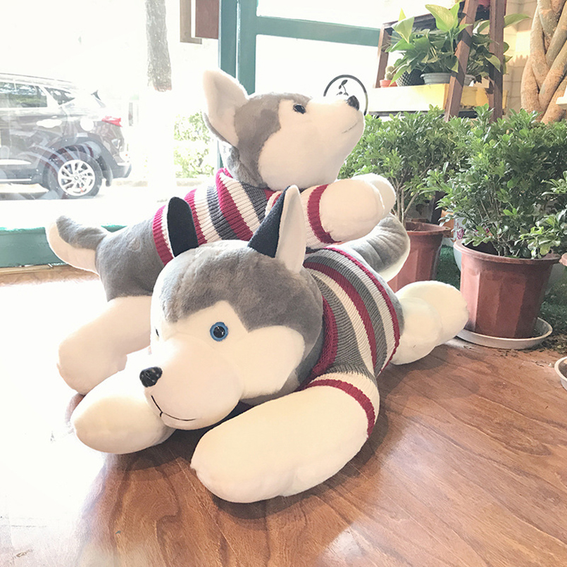 Kawaii Siberian Husky Dog Doll Plush Toys Stuffed Animal Plush Pillow Cushion Pet Dog Doll Soft Toy Baby Kids Girlfriend Gift