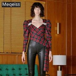 MEQEISS 2019 nueva blusa a cuadros de moda de verano para mujer, blusa de fiesta de noche de celebridad, blusa de pasarela con escote en V rojo y volantes drapeados para Club