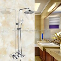 Wall Mounted Chrome Shower Faucet Set Double Handles 8 Rainfall Showerhead Bath and Shower Mixers with Handshower Kcy307