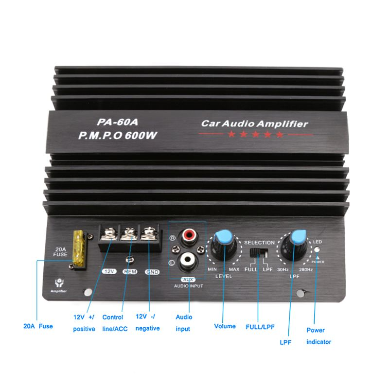 Free delivery 12V 600W Car Audio Amplifier Board PA-60A Subwoofer Circuit Module