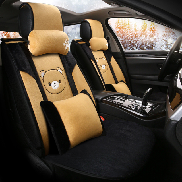 cartoon cute dog husky bear piggy universal car seat cover fur heated seats auto covers for cars heating accessories cushion set 5