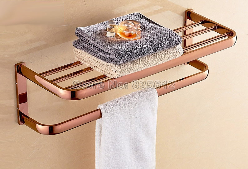 NEW Luxury Rose Golden Brass Bathroom Accessories Towel Rail Holder Storage Rack Shelf Bar Wall Mounted Wba821 free shipping wall mounted space aluminum black golden paper towel shelf phone toilet paper holder