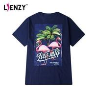 LIENZY Summer Flamingo Hip Hops T Shirt For Women Boyfriend Appliques Black Blue Loose Plus Size