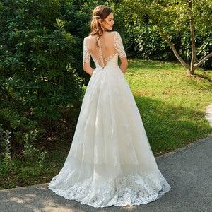 Image 4 - Dressv ivory wedding dress scoop neck short sleeveless bridal elegant outdoor&church appliques button ball gown wedding dresses