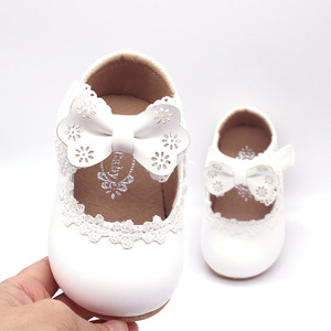 Newborn Flower Children Girls Toddler Baby Little Bow Leather Shoes For Girls White Lace Pink Party Wedding Dress Shoes New 2020(China)