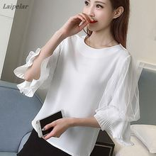 Women Chiffon Blouses 2018 Summer Flare Ruffled Sleeve Elegant Blouse Three Quarter Tops Clothing Pink Blusas