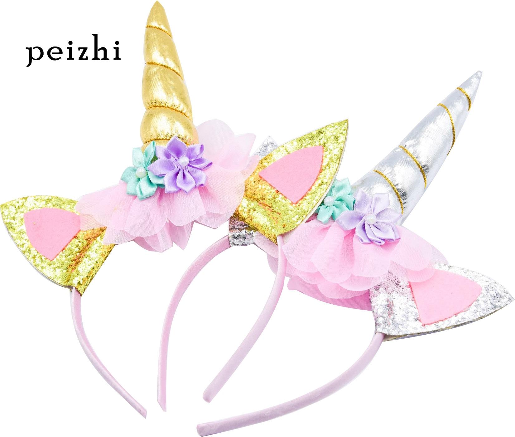 Unicorn Headband boy girl's Birthday Ball Hair Hoop children Supplies for Party Accessories Silver gold Halloween Headwear