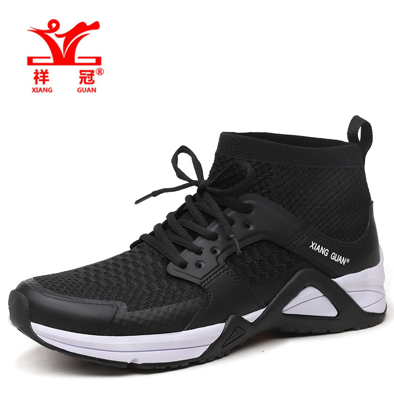 XIAN GUAN2017 men's running shoes sports high-cut net breathable outdoor sports shoes black white sports shoes EUR 39-45 цена