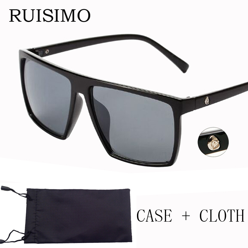 Brand retro Steampunk frame SKULL Square male font b Sunglasses b font Men All Black oversized