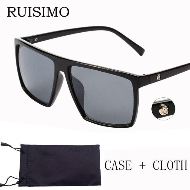 1c63002ec80cf Marque rétro Steampunk cadre crâne carré mâle lunettes de soleil hommes tout  noir surdimensionné grandes lunettes