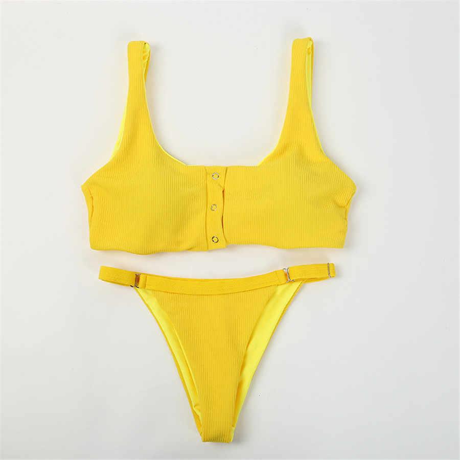 3598990fe693 Traje de baño Sexy para niñas Bikini Tanga sólido traje de baño para mujer  nuevo cuello en V Bikinis Set pantalones ajustar traje de baño estilo ...